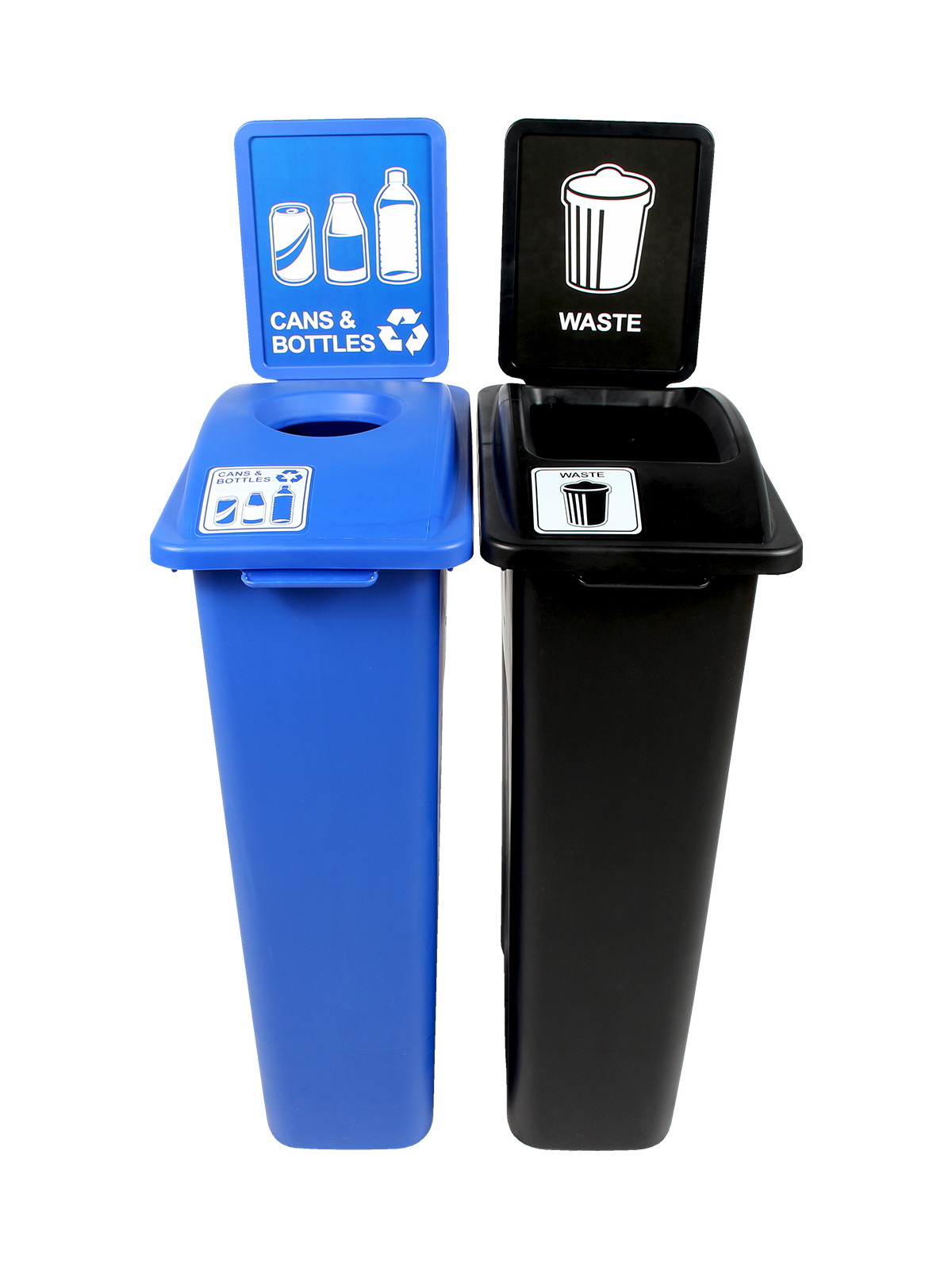 WASTE WATCHER - Double - Cans & Bottles-Waste - Circle-Full - Blue-Black