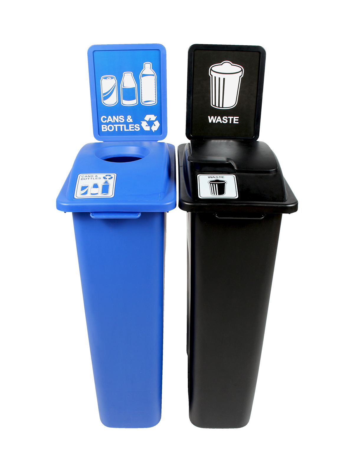 WASTE WATCHER - Double - Cans & Bottles-Waste - Circle-Solid Lift - Blue-Black
