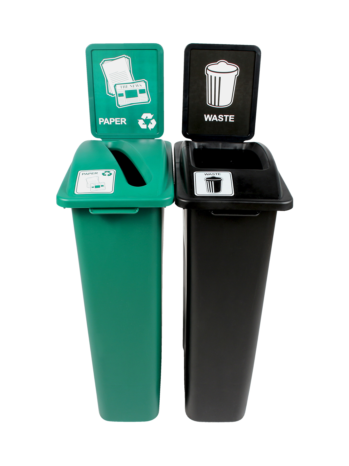 WASTE WATCHER - Double - Paper-Waste - Slot-Full - Green-Black