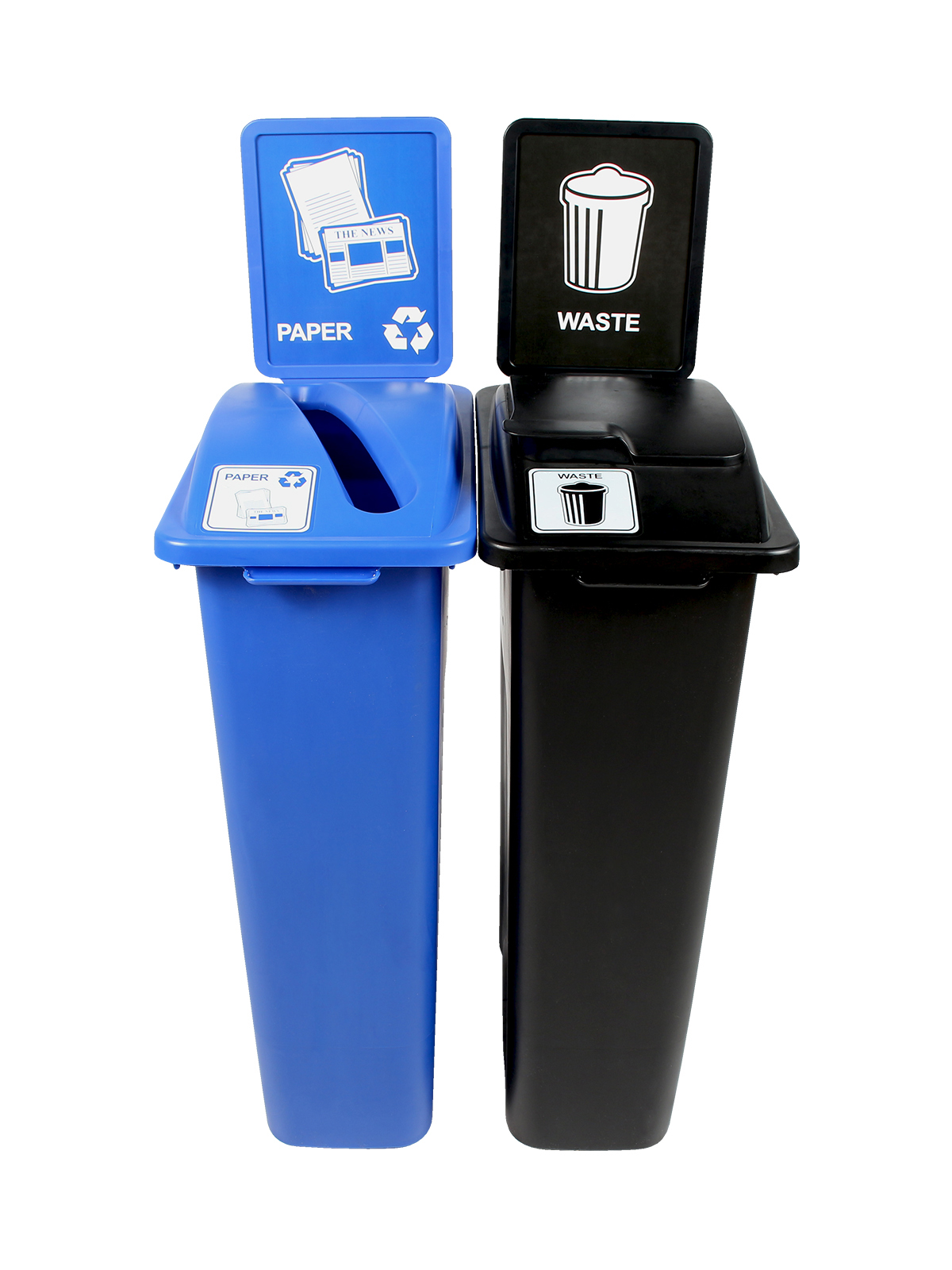 WASTE WATCHER - Double - Paper-Waste - Slot-Solid Lift - Blue-Black