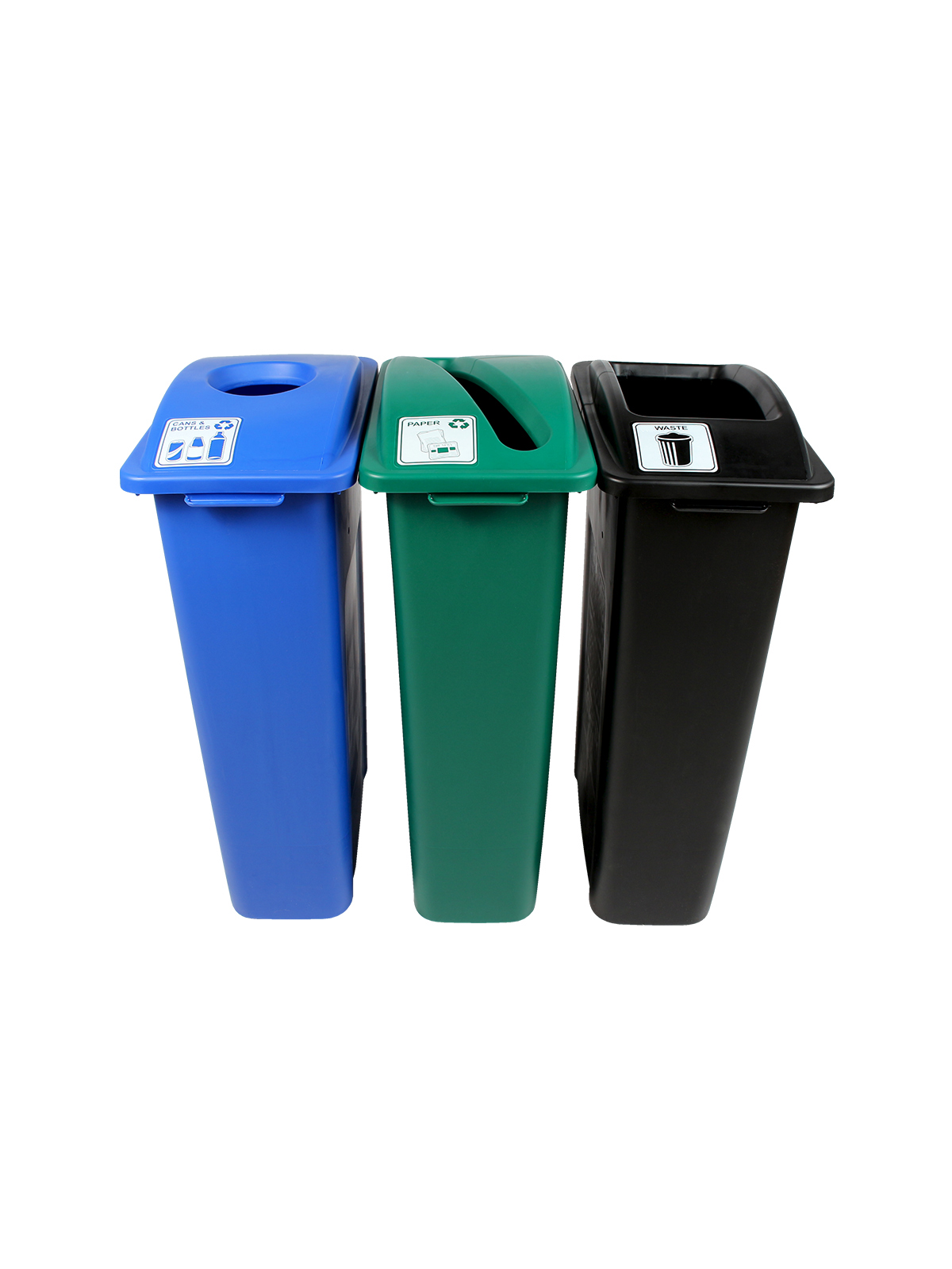 WASTE WATCHER - Triple - Cans & Bottles-Paper-Waste - Circle-Slot-Full - Blue-Green-Black