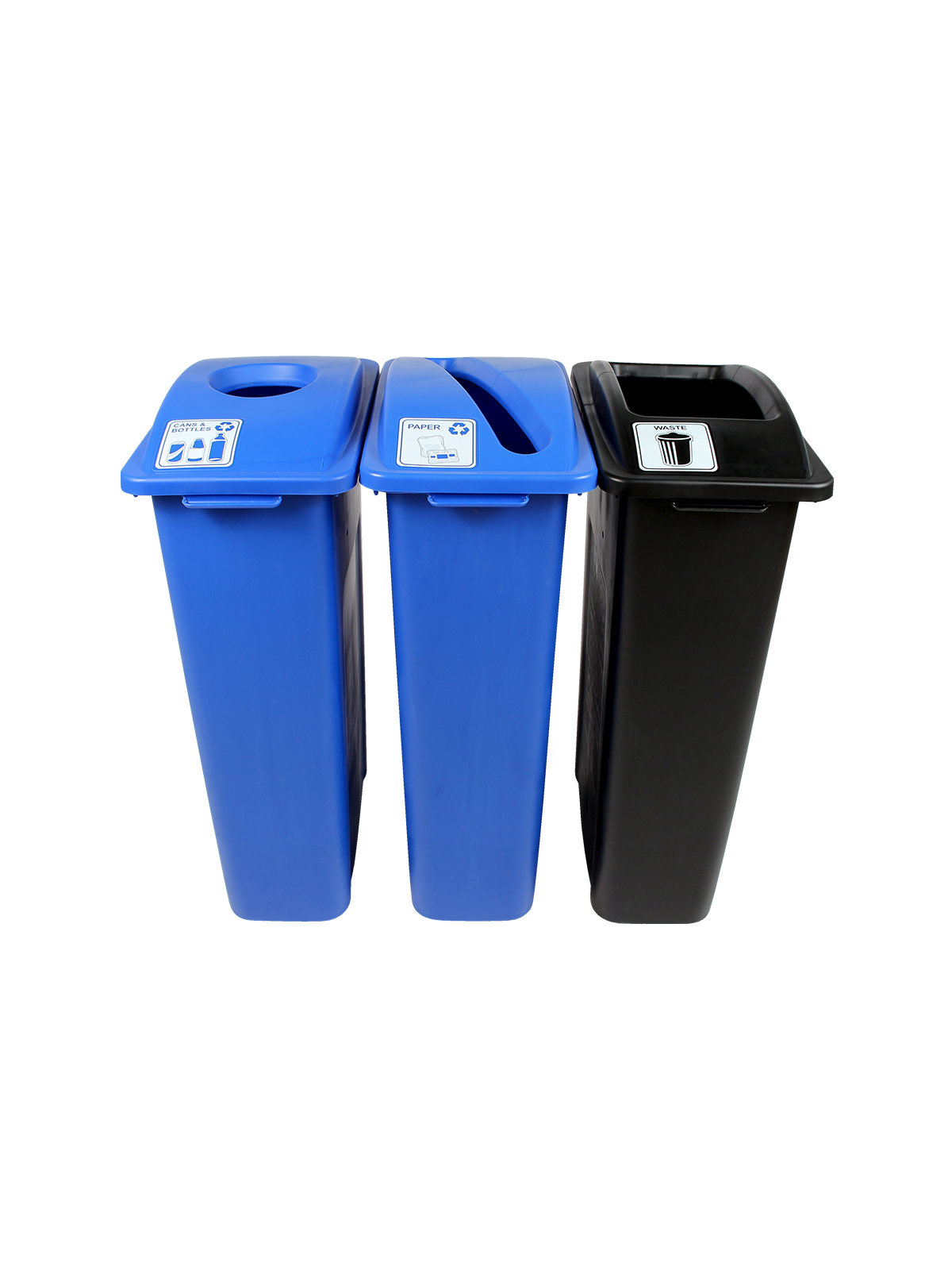 WASTE WATCHER - Triple - Cans & Bottles-Paper-Waste - Circle-Slot-Full - Blue-Blue-Black