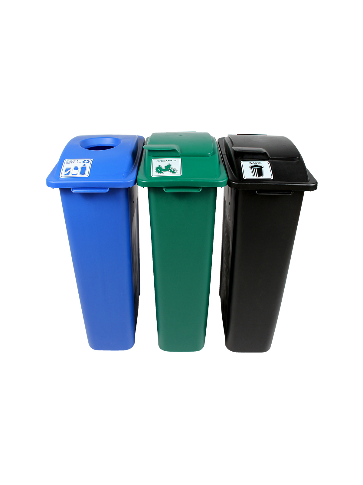 WASTE WATCHER - Triple - Cans & Bottles-Organics-Waste - Circle-Solid Lift-Solid Lift - Blue-Green-Black