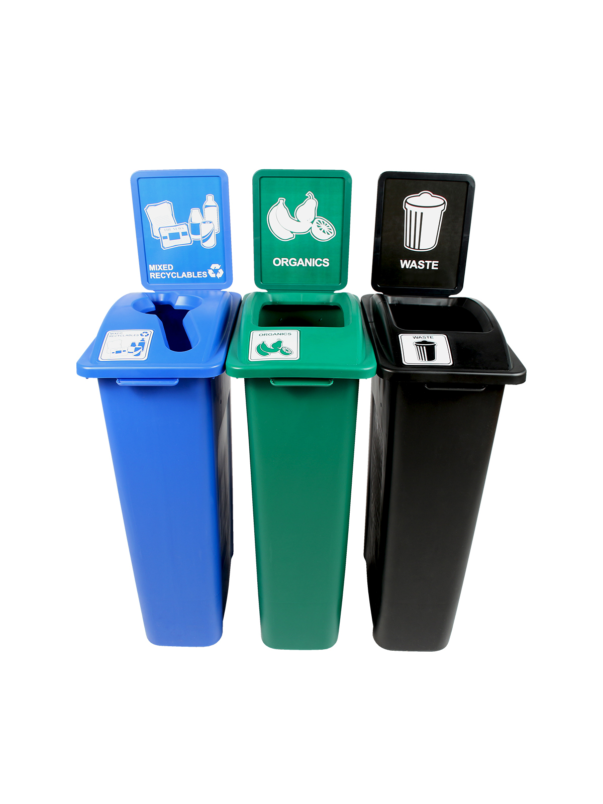 WASTE WATCHER - Triple - Mixed Recyclables-Organics-Waste - Mixed-Full - Blue-Green-Black