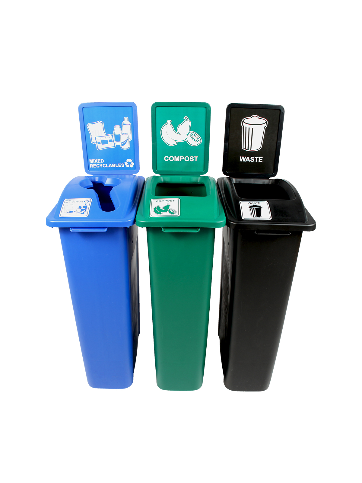 WASTE WATCHER - Triple - Mixed Recyclables-Compost-Waste - Mixed-Full - Blue-Green-Black