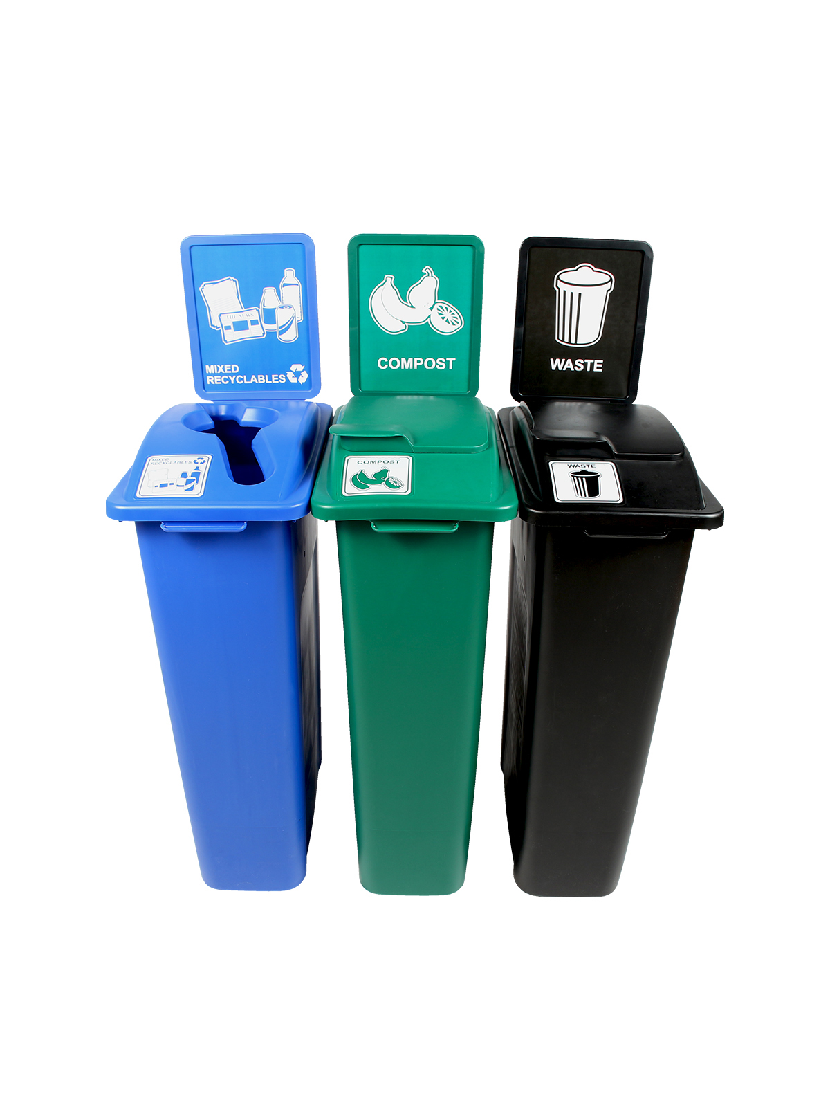 WASTE WATCHER - Triple - Mixed Recyclables-Compost-Waste - Mixed-Solid Lift-Solid Lift - Blue-Green-Black