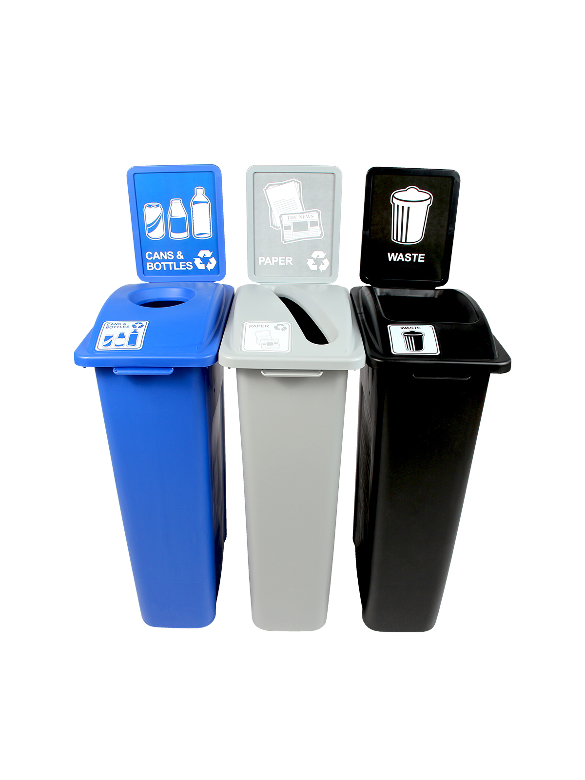 WASTE WATCHER - Triple - Cans & Bottles-Paper-Waste - Circle-Slot-Full - Blue-Grey-Black
