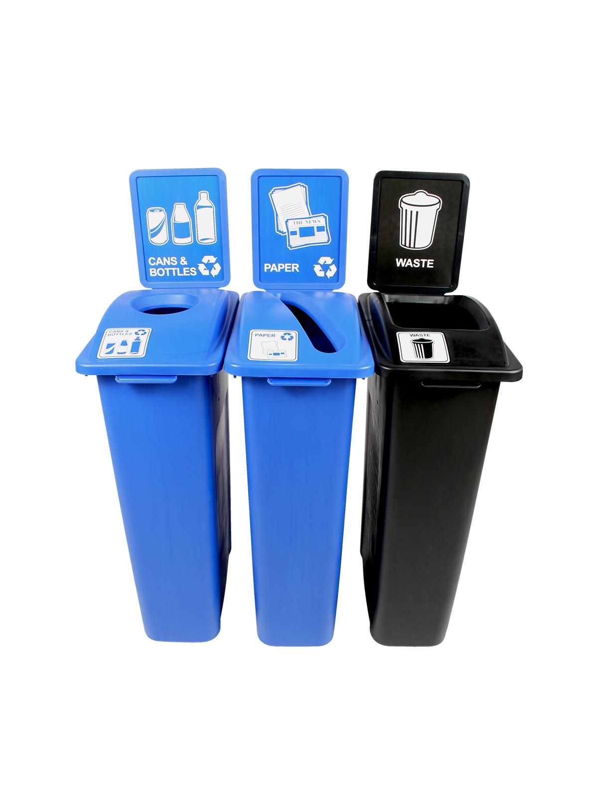 WASTE WATCHER - Triple - Cans & Bottles-Paper-Waste - Circle-Slot-Full - Blue-Blue-Black