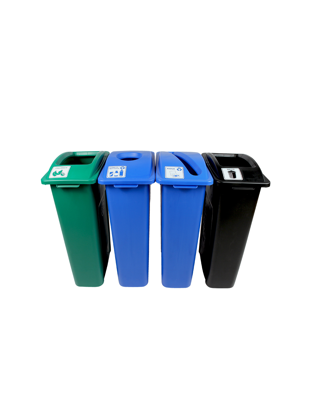 WASTE WATCHER - Quad - Cans & Bottles-Papers-Organics-Waste - Circle-Slot-Full - Blue-Blue-Green-Black