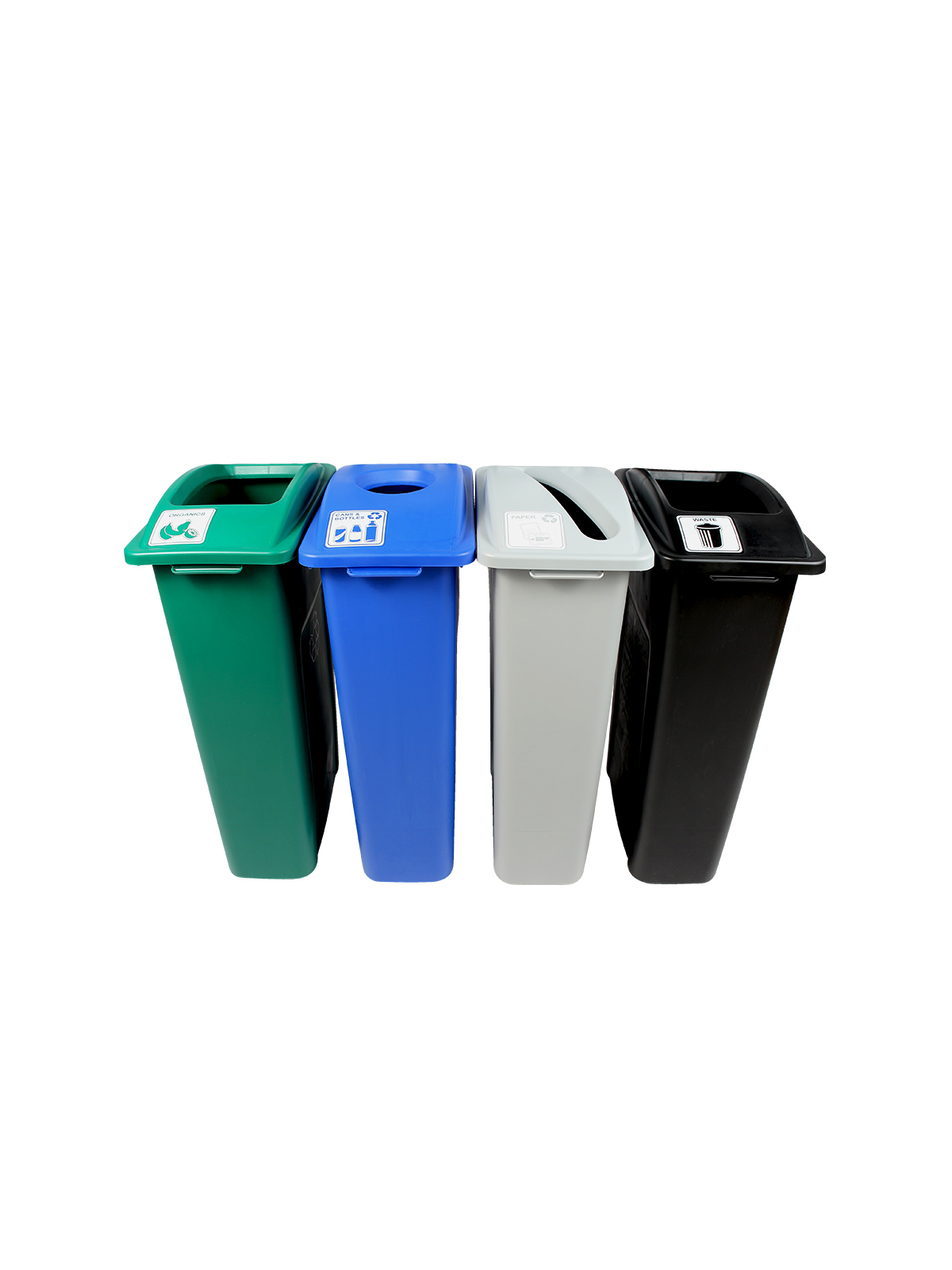 WASTE WATCHER - Quad - Cans & Bottles-Paper-Organics-Waste - Circle-Slot-Full - Blue-Grey-Green-Black