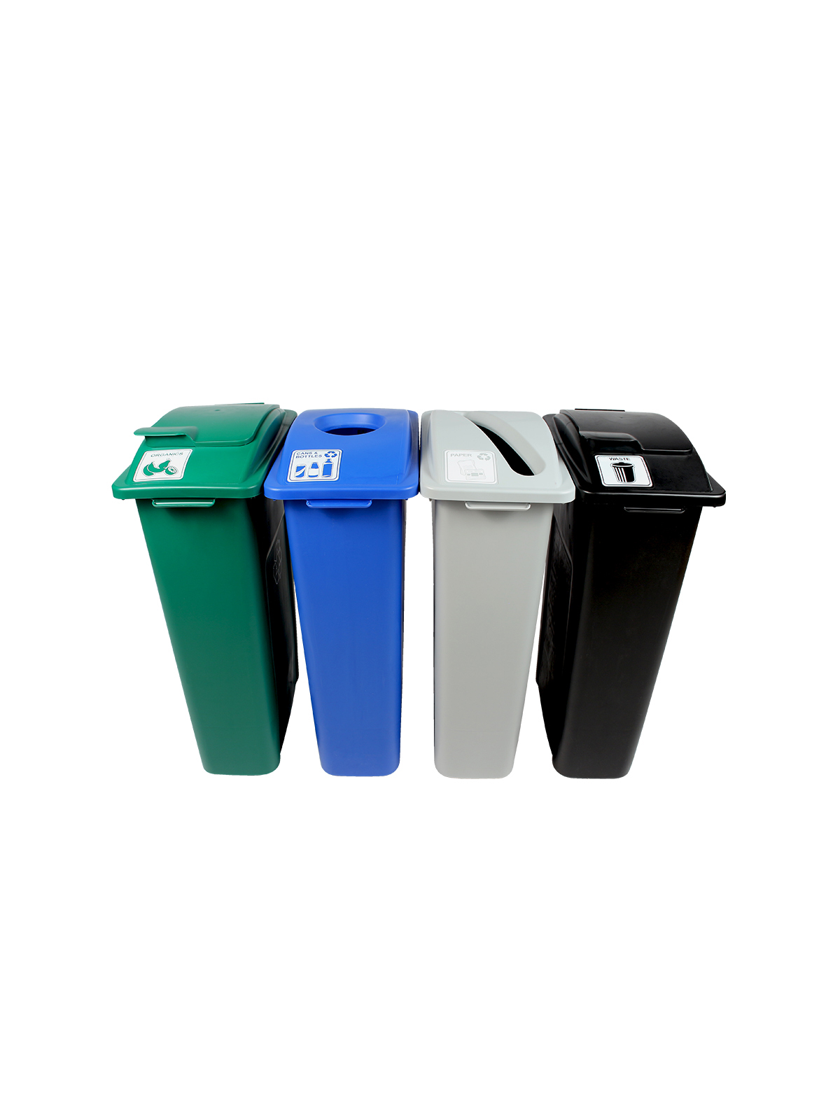 WASTE WATCHER - Quad - Cans & Bottles-Paper-Organics-Waste - Circle-Slot-Solid Lift-Solid Lift - Blue-Grey-Green-Black