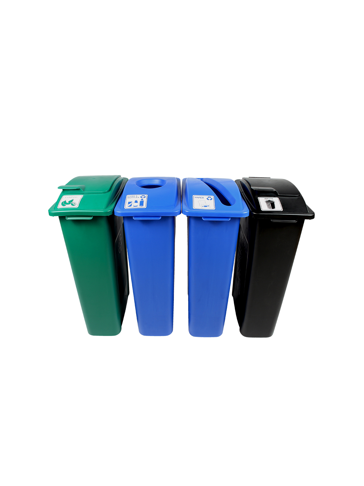 WASTE WATCHER - Quad - Cans & Bottles-Paper-Compost-Waste - Circle-Slot-Solid Lift-Solid Lift - Blue-Blue-Green-Black