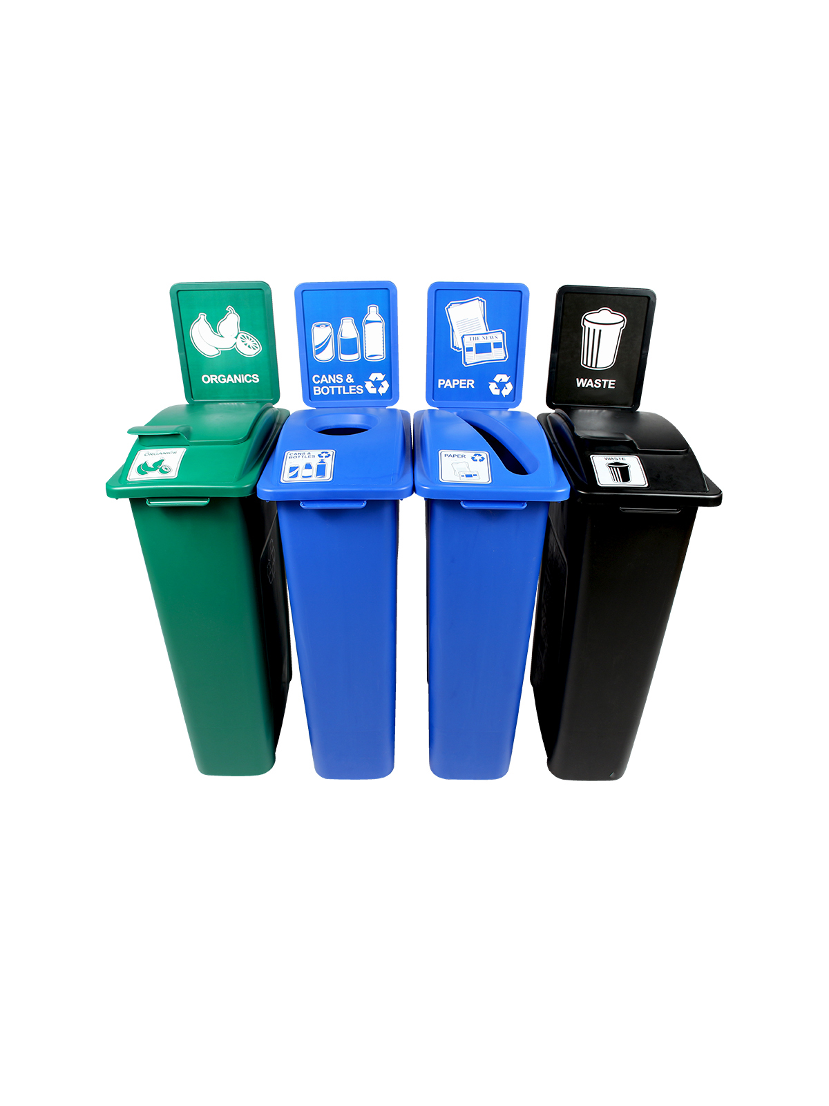 WASTE WATCHER - Quad - Cans & Bottles-Paper-Organics-Waste - Circle-Slot-Solid Lift-Solid Lift - Blue-Blue-Green-Black