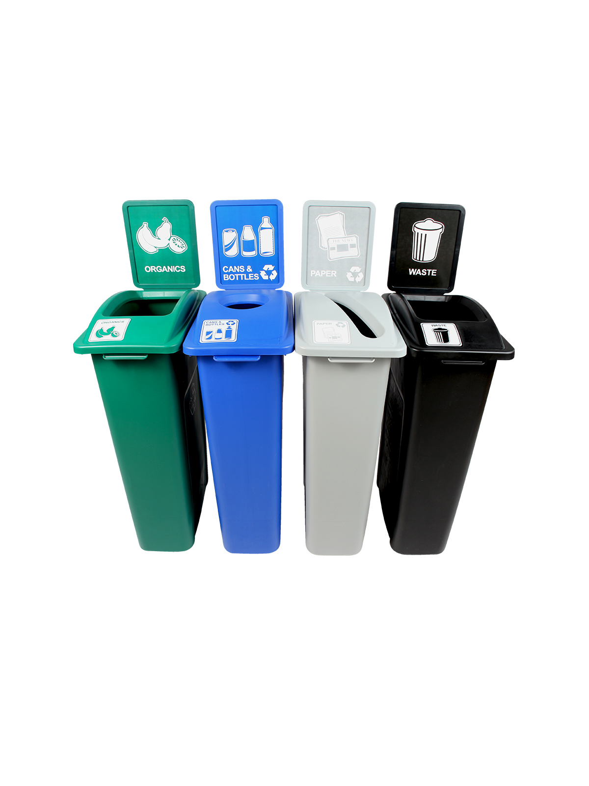 WASTE WATCHER - Quad - Cans & Bottles-Paper-Organics-Waste - Circle-Slot-Full - Blue-Grey-Green-Black