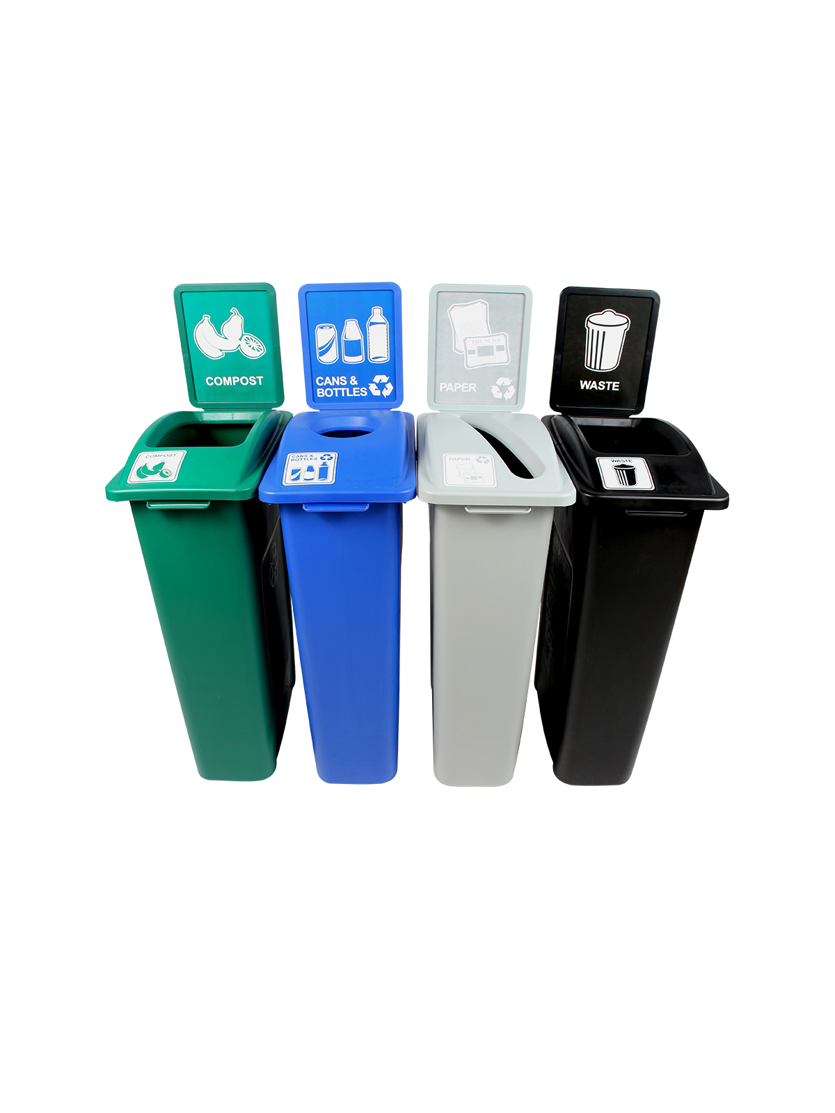 WASTE WATCHER - Quad - Cans & Bottles-Paper-Compost-Waste - Circle-Slot-Full - Blue-Grey-Green-Black