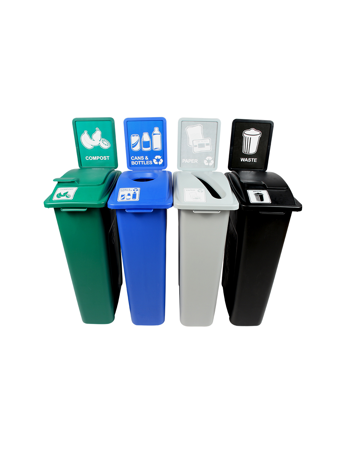 WASTE WATCHER - Quad - Cans & Bottles-Paper-Compost-Waste - Circle-Slot-Solid Lift-Solid Lift - Blue-Grey-Green-Black