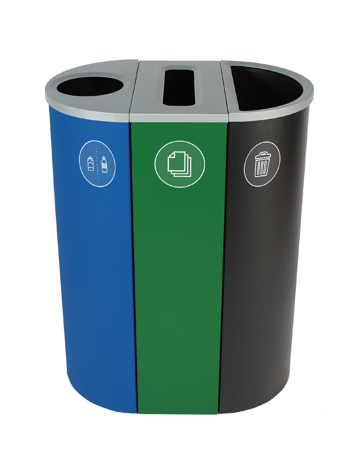 SPECTRUM - Triple - Cans & Bottles-Paper-Waste - Circle-Slot-Full - Blue-Green-Black