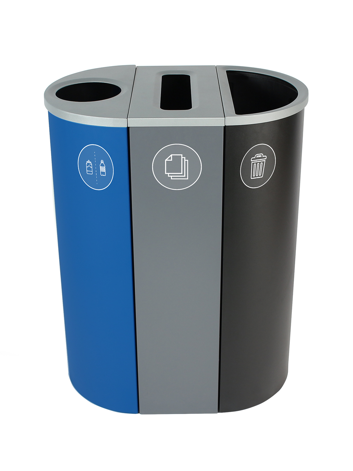 SPECTRUM - Triple - Cans & Bottles-Paper-Waste - Circle-Slot-Full - Blue-Grey-Black