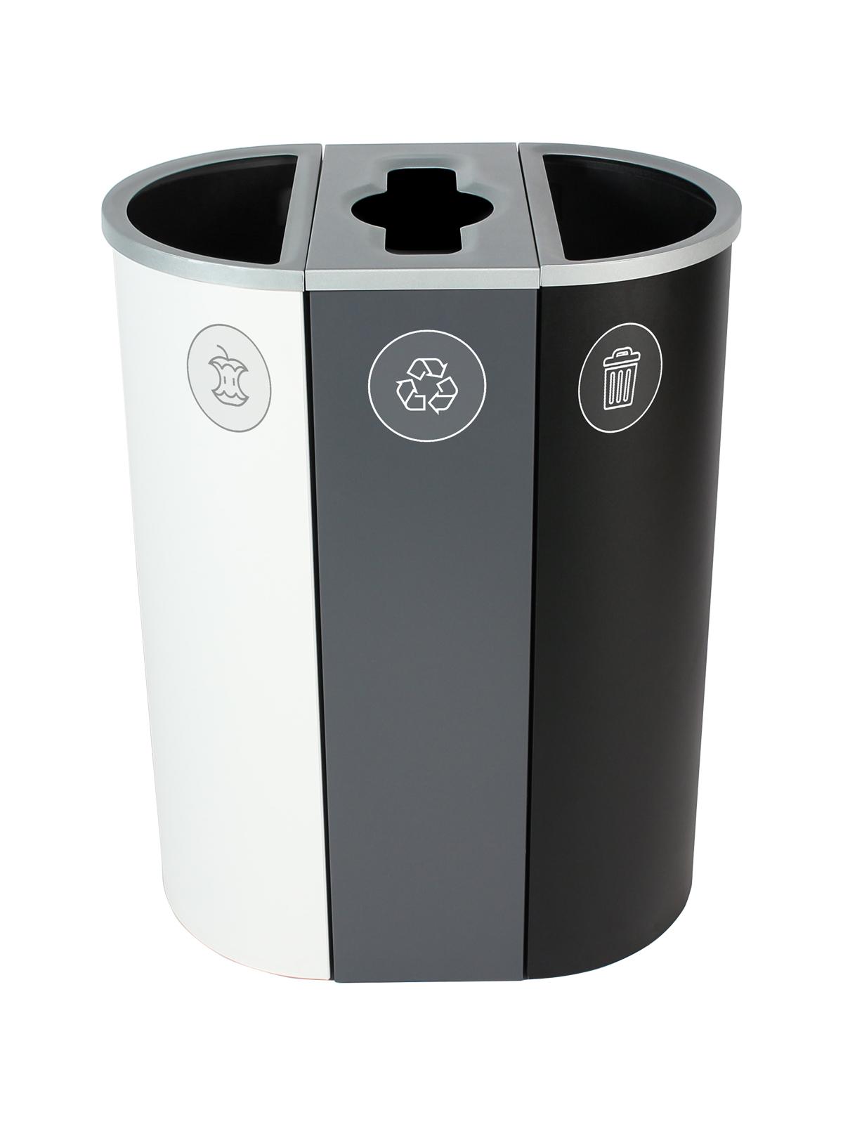 SPECTRUM - Triple - Organics-Mobius Loop-Waste - Full-Mixed-Full - White-Grey-Black