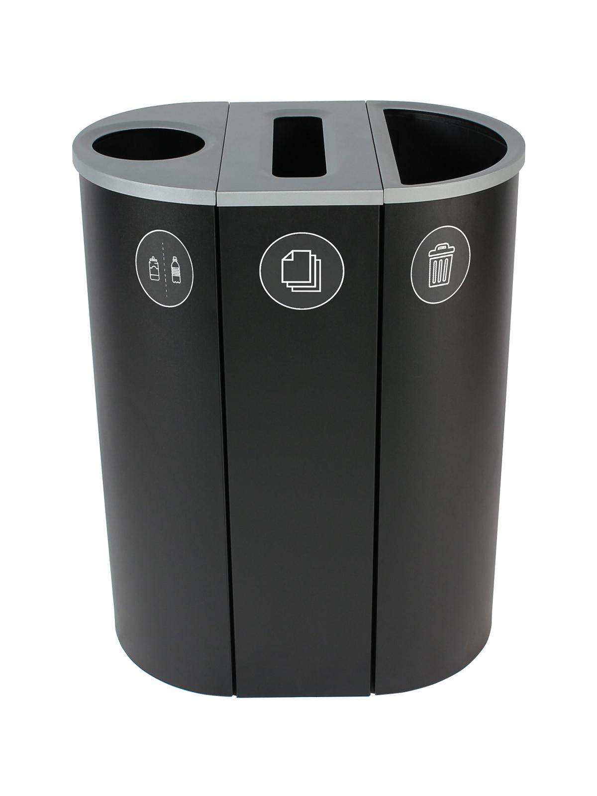SPECTRUM - Triple - Cans & Bottles-Paper-Waste - Circle-Slot-Full - Black