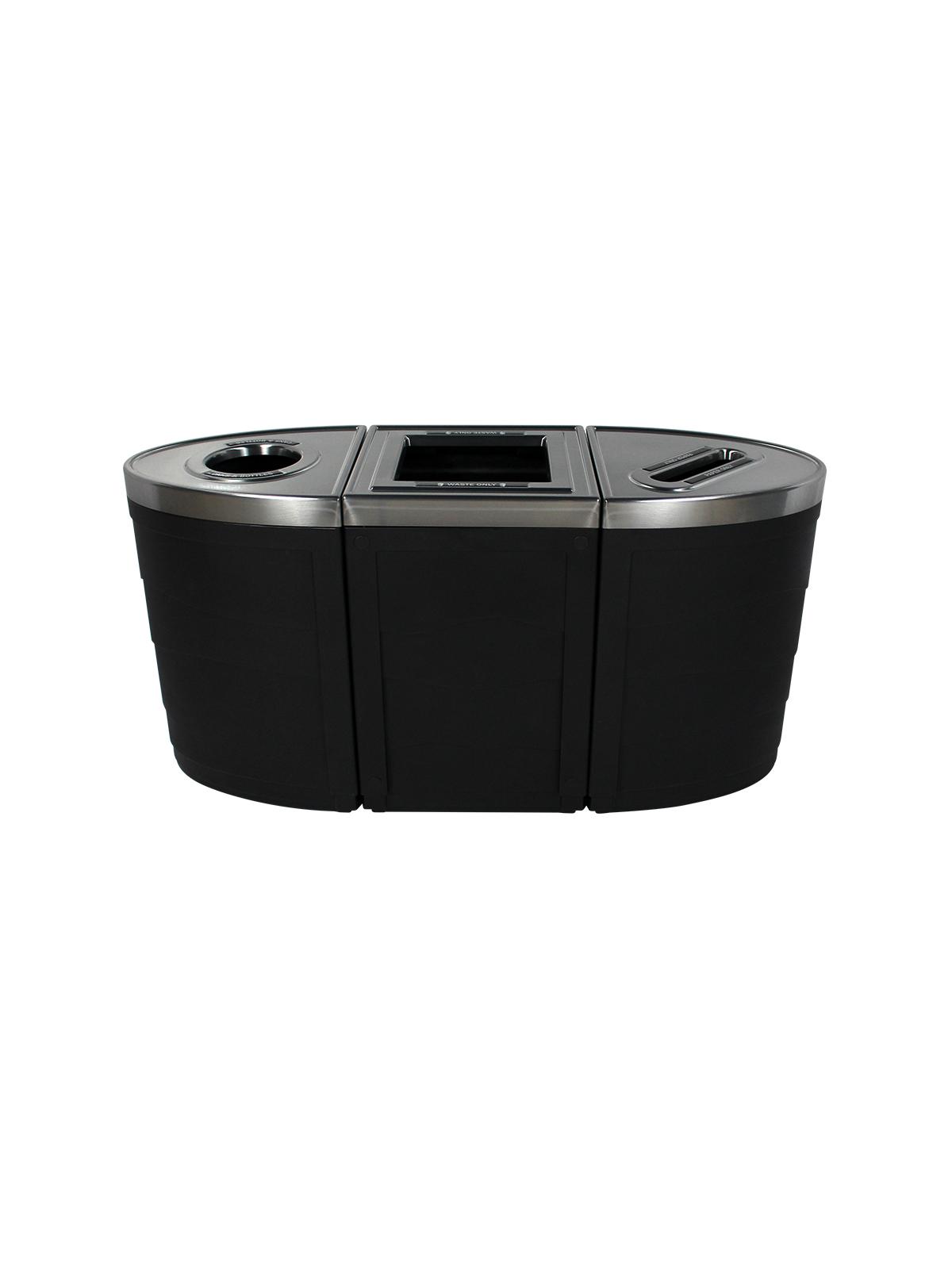 EVOLVE - Triple - Cans & Bottles-Waste-Paper - Circle-Full-Slot - Black