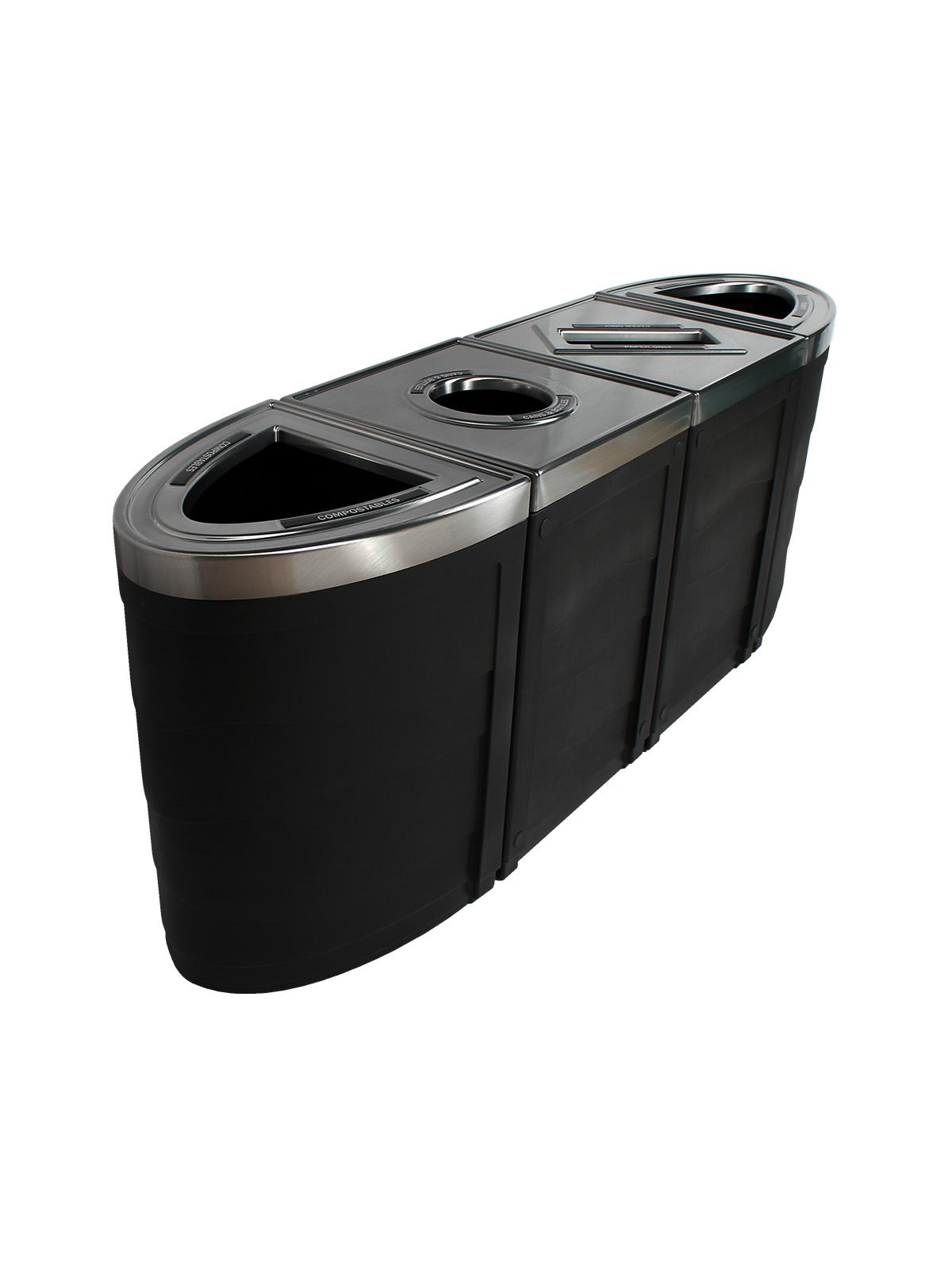 EVOLVE - Quad - Compostables-Cans & Bottles-Paper-Landfill - Full-Circle-Slot-Full - Black title=