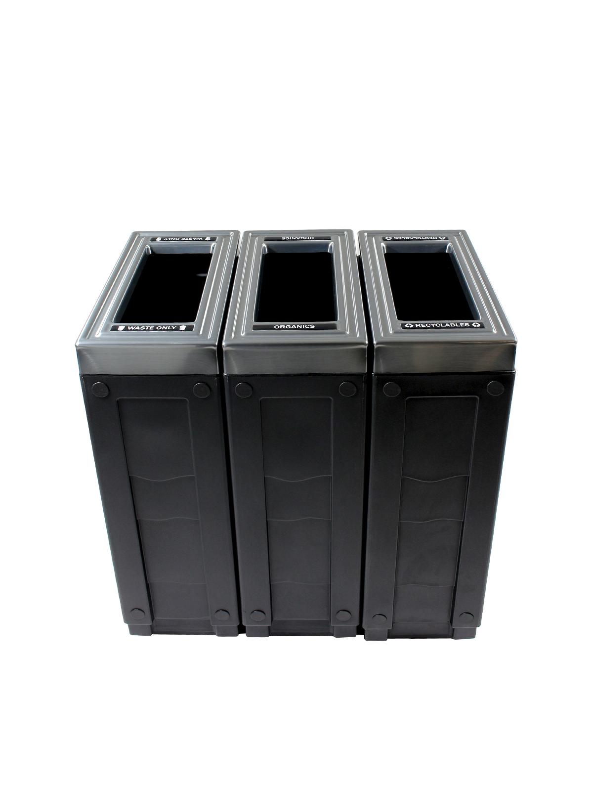 EVOLVE - Triple - Recyclables-Organics-Waste - Full - Black