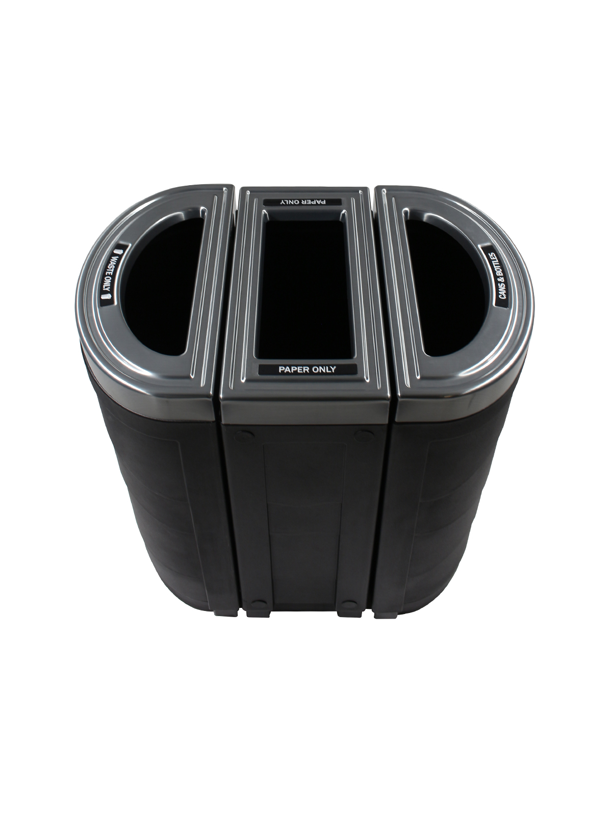 EVOLVE - Triple - Cans & Bottles-Paper-Waste - Full - Black
