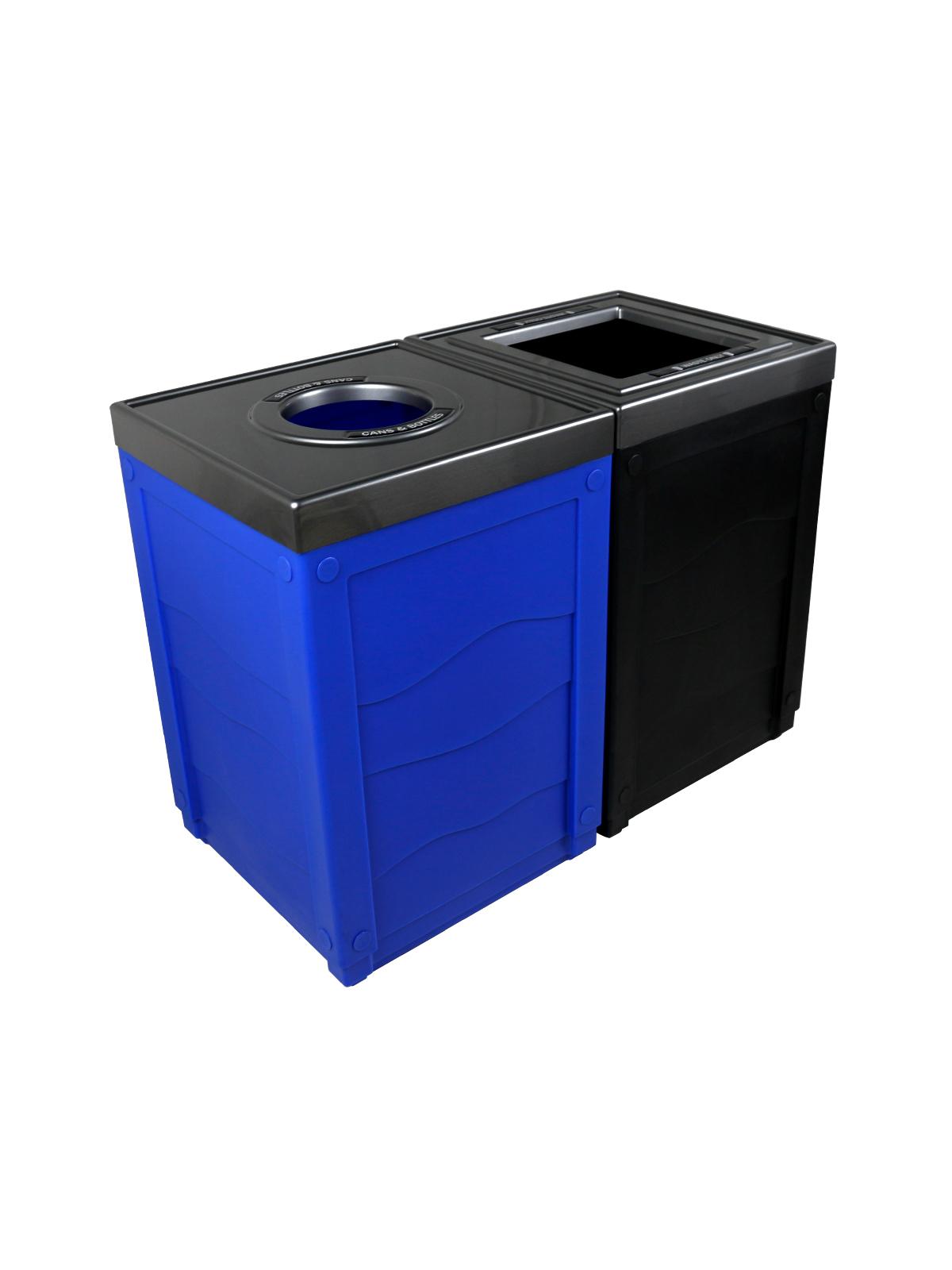 EVOLVE - Double - Cans & Bottles-Waste - Circle-Full - Blue-Black
