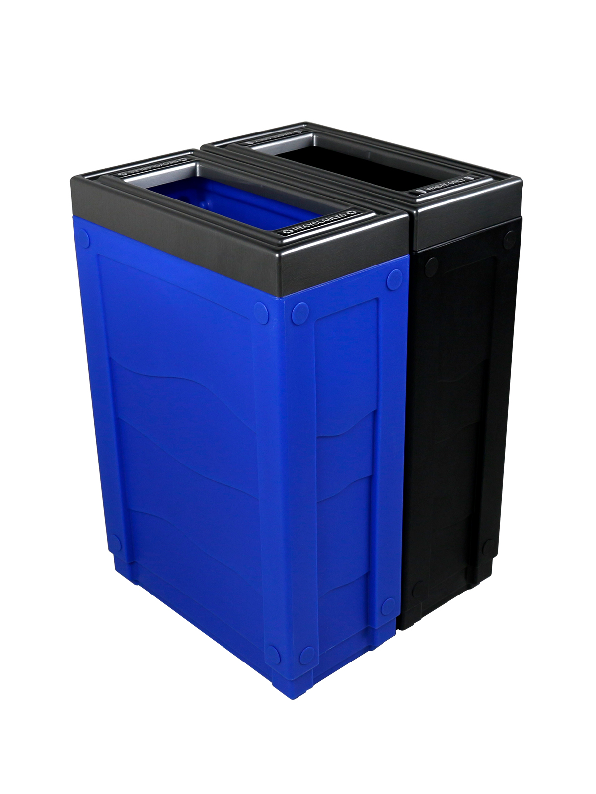 EVOLVE - Double - Recyclables-Waste - Full - Blue-Black title=