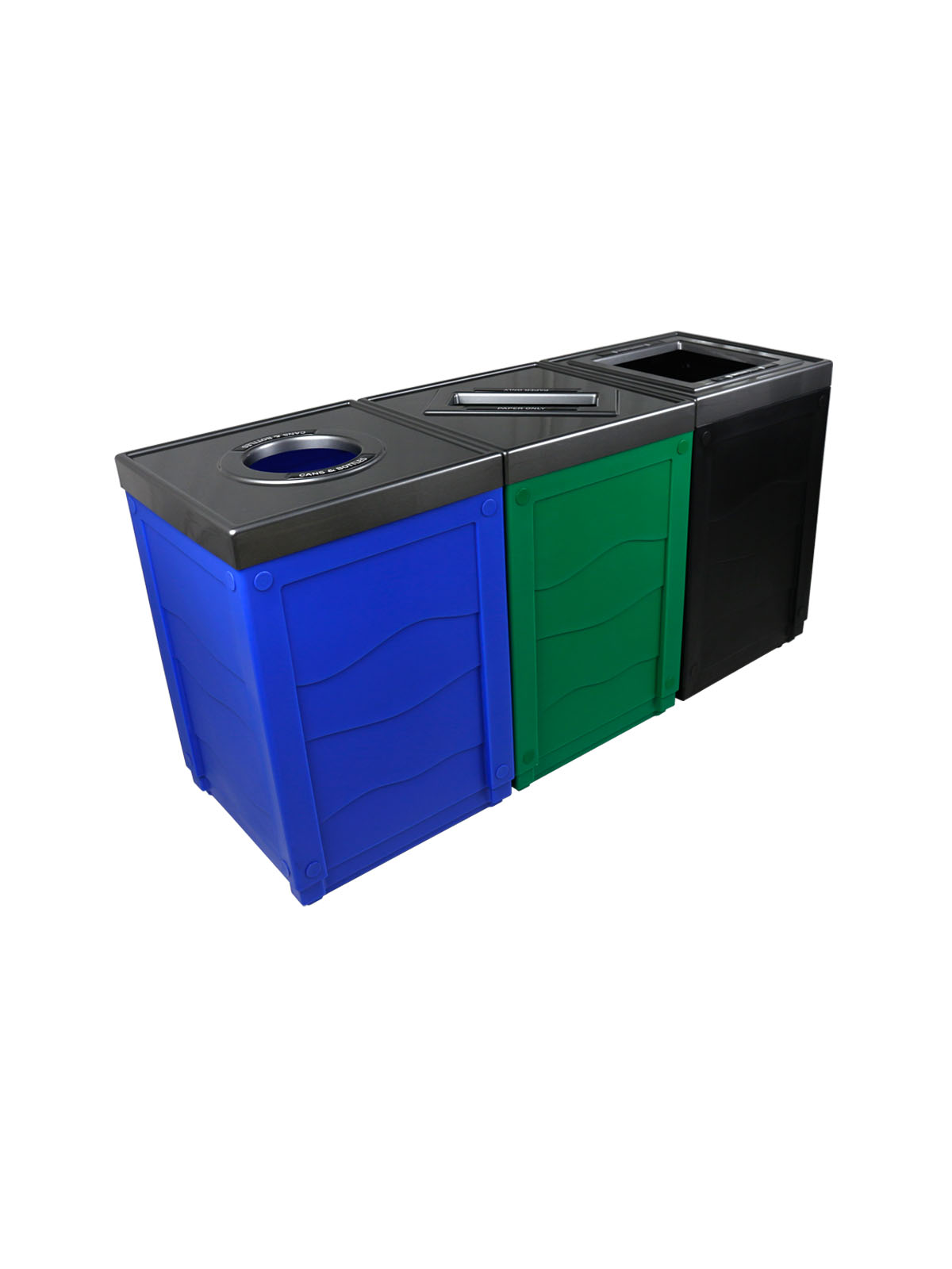 EVOLVE - Triple - Cans & Bottles-Paper-Waste - Circle-Slot-Full - Blue-Green-Black