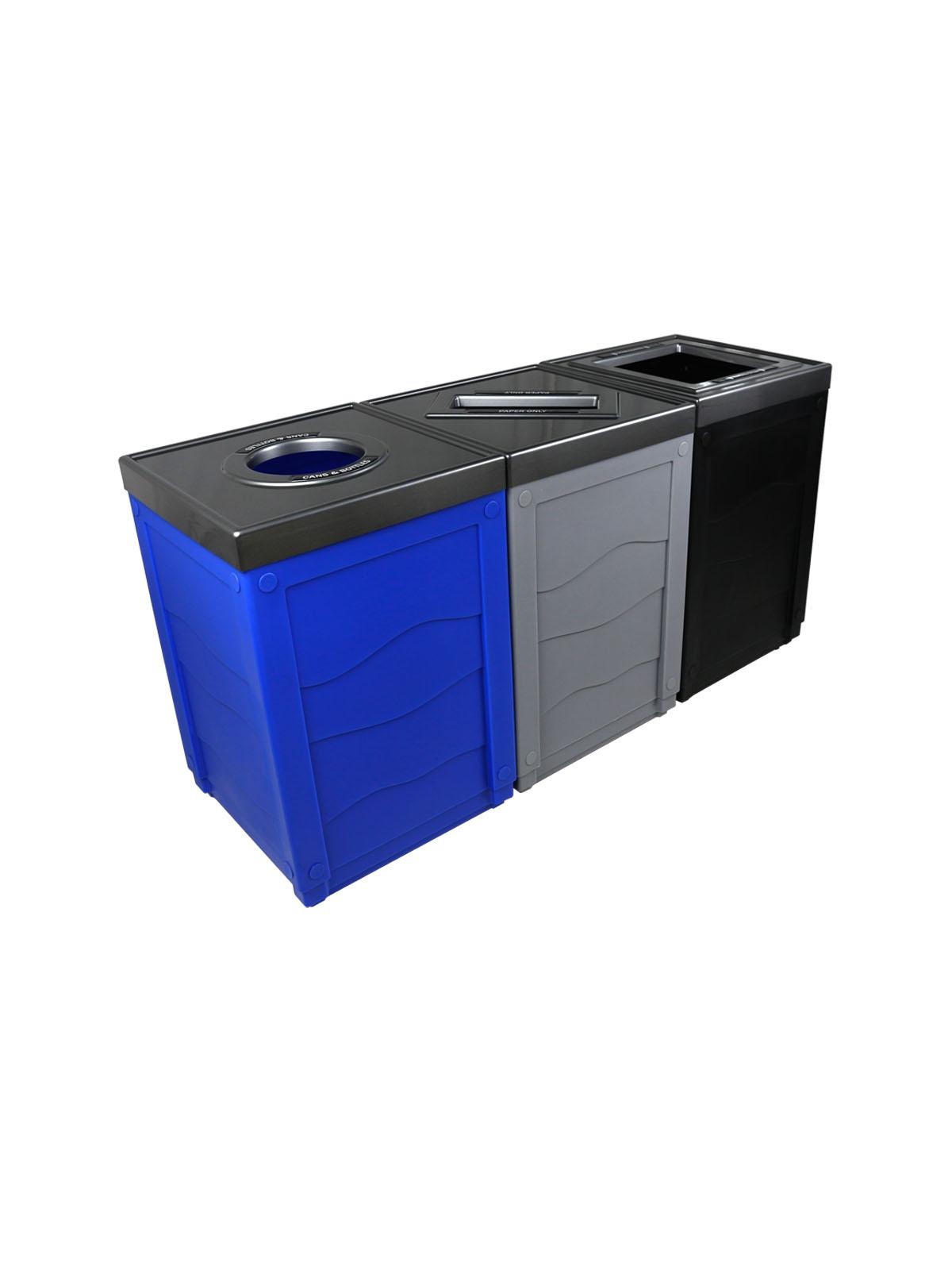 EVOLVE - Triple - Cans & Bottles-Paper-Waste - Circle-Slot-Full - Blue-Grey-Black