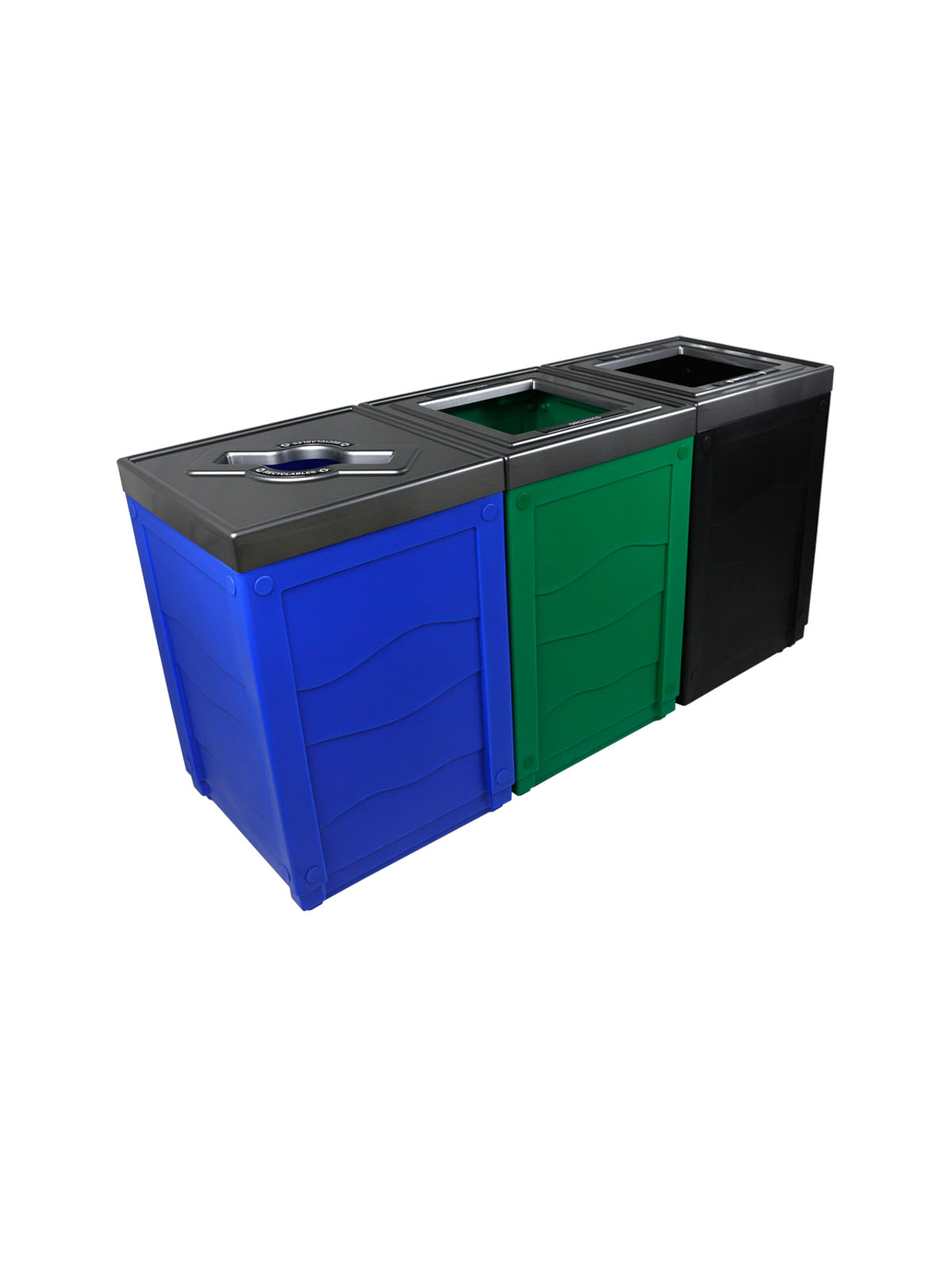 EVOLVE - Triple - Recyclables-Organics-Waste - Mixed-Full - Blue-Green-Black
