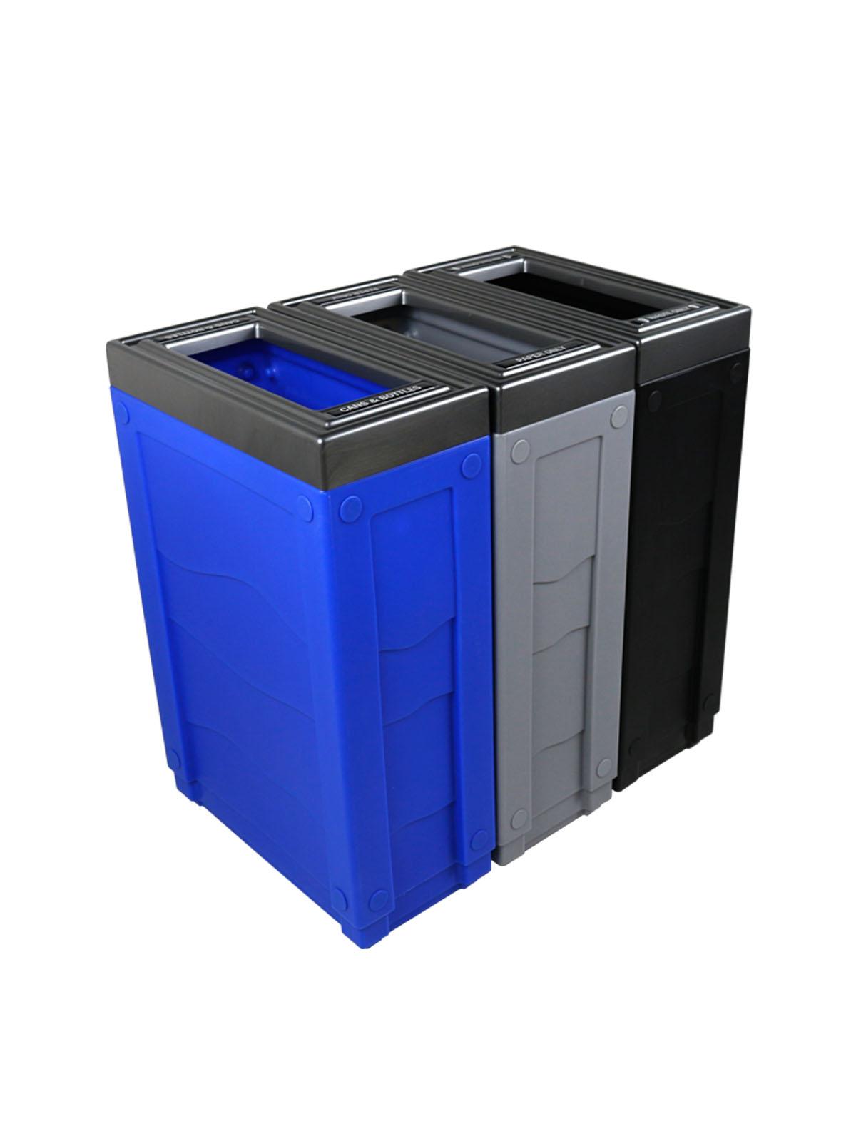 EVOLVE - Triple - Cans & Bottles-Paper-Waste - Full - Blue-Grey-Black