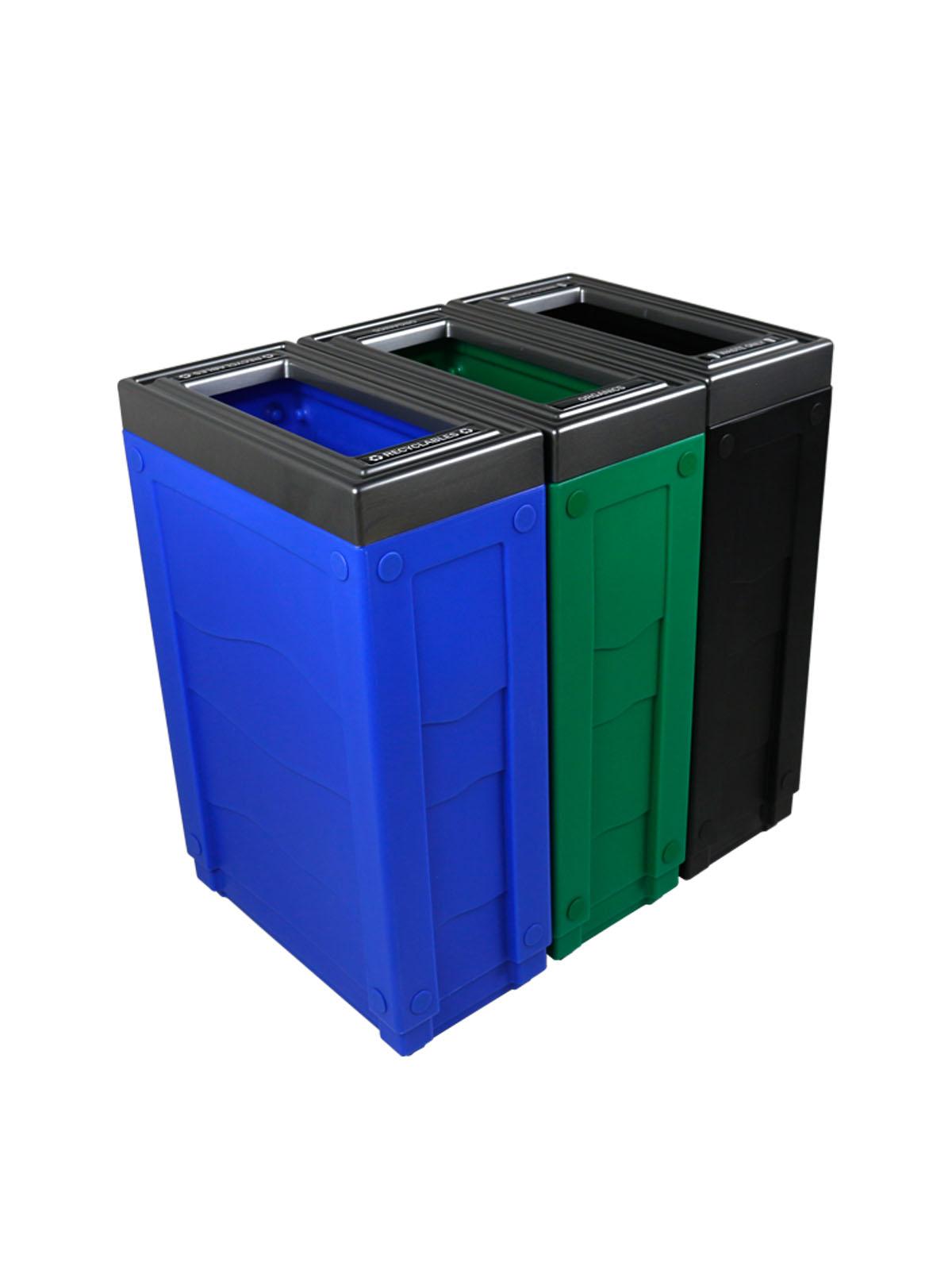 EVOLVE - Triple - Recyclables-Organics-Waste - Full - Blue-Green-Black