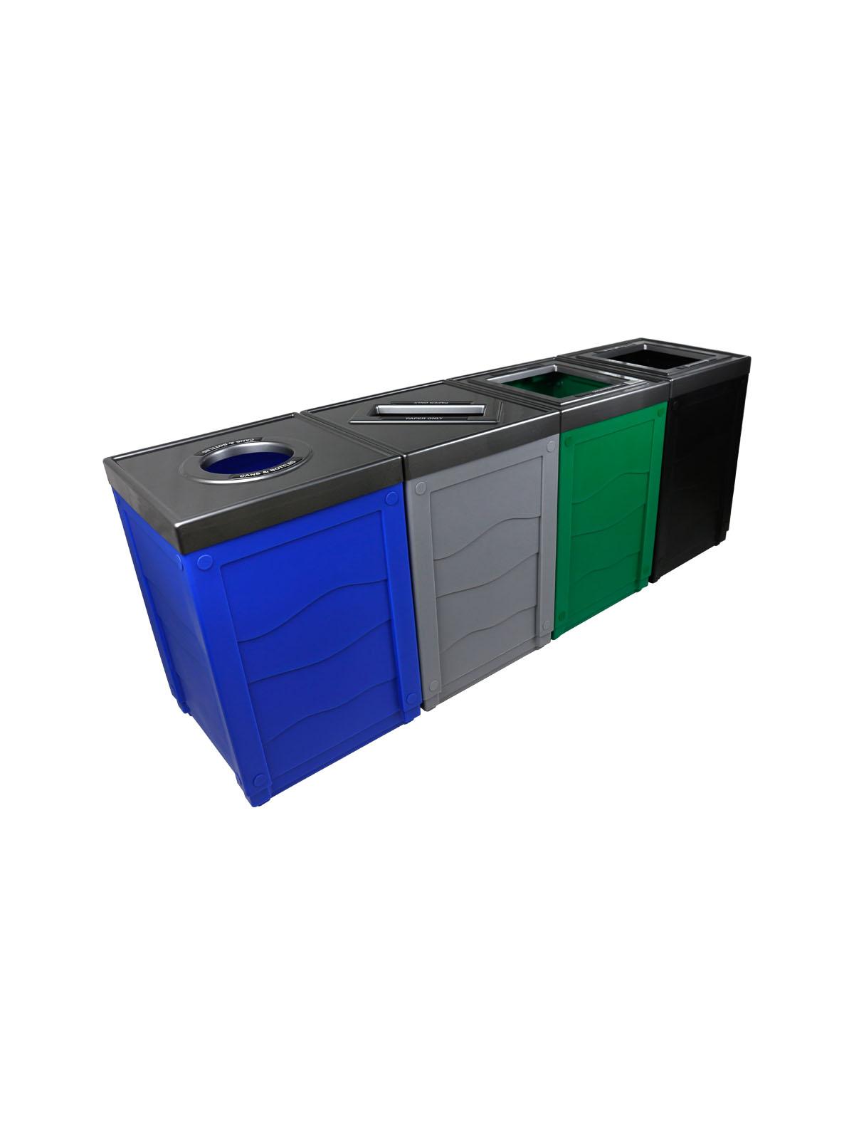 EVOLVE - Quad - Cans & Bottles-Paper-Organics-Waste - Full-Circle-Slot-Full - Blue-Grey-Green-Black
