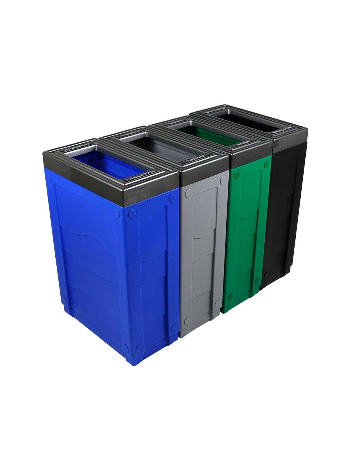 EVOLVE - Quad - Cans & Bottles-Paper-Organics-Waste - Full - Blue-Grey-Green-Black