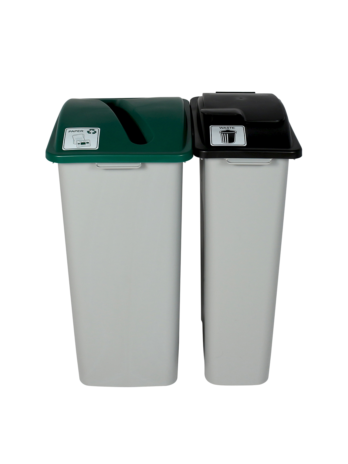 WASTE WATCHER XL - Double - Paper-Waste - Slot-Solid Lift - Grey-Green-Black