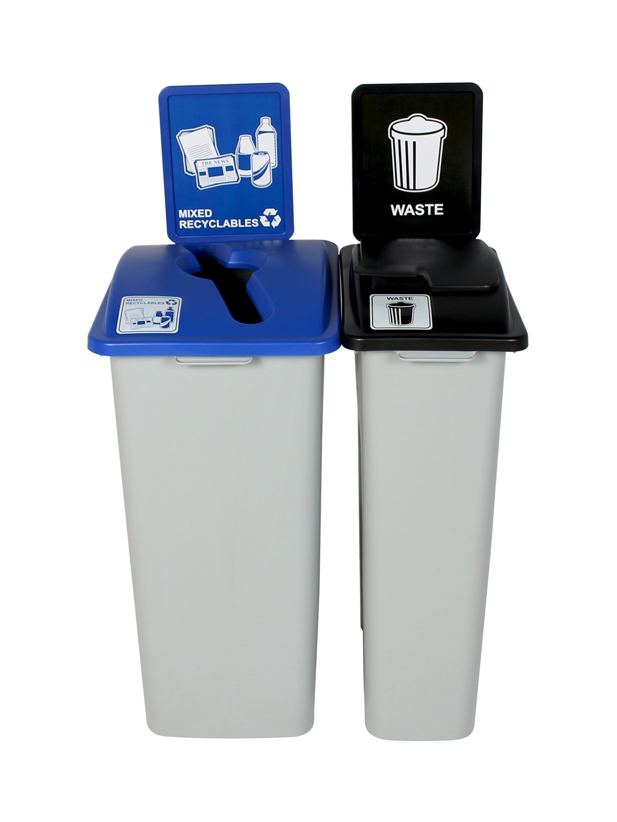 WASTE WATCHER XL - Double - Mixed Recyclables-Waste - Mixed-Solid Lift - Grey-Blue-Black