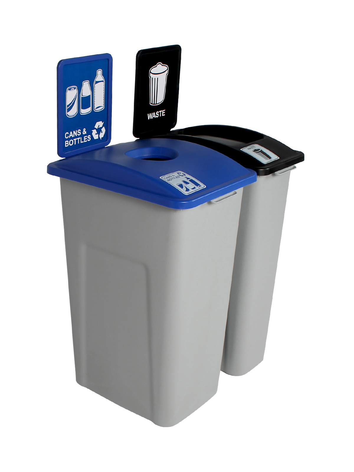 WASTE WATCHER XL - Double - Cans & Bottles-Waste - Circle-Full - Grey-Blue-Black