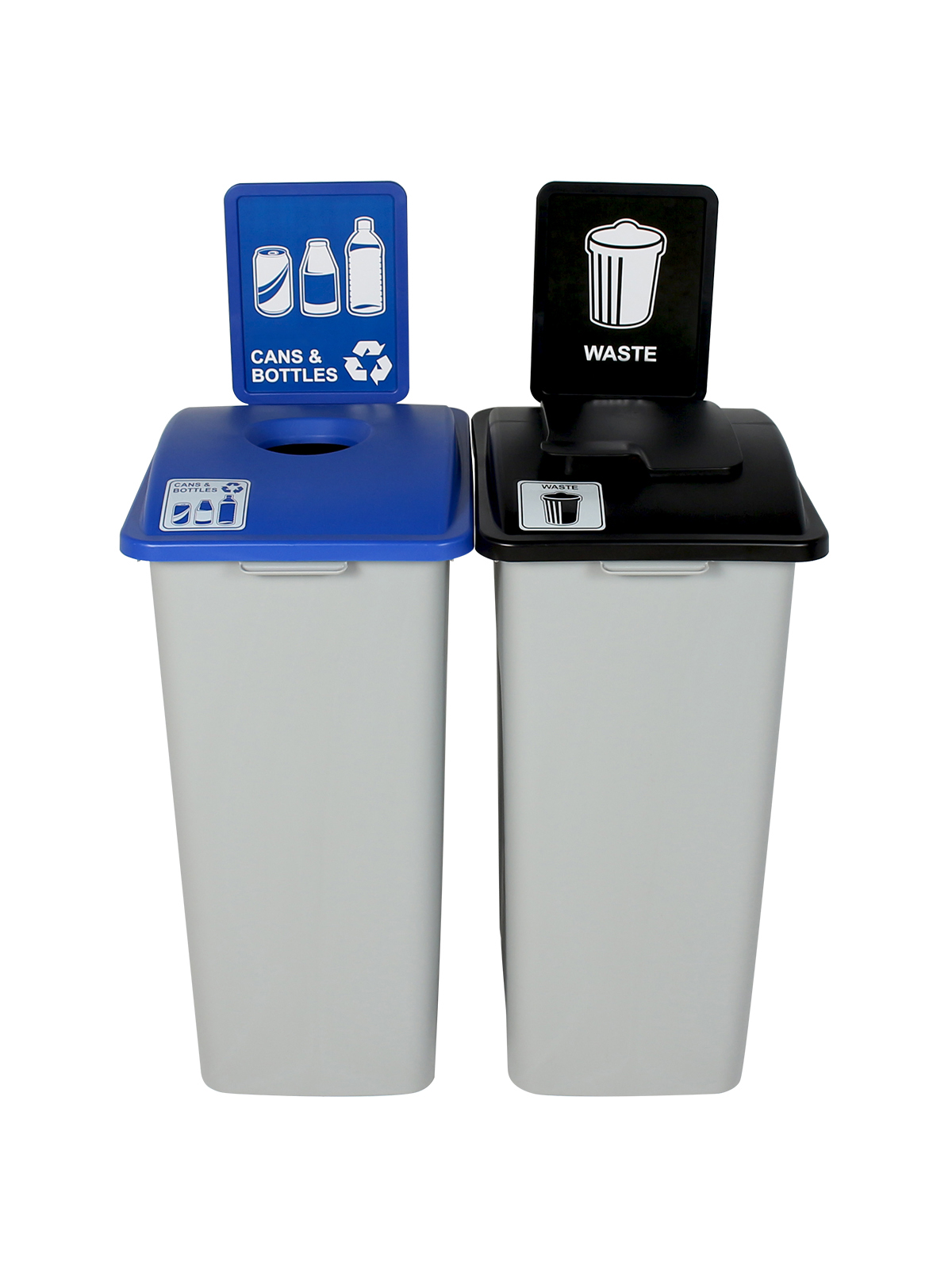 WASTE WATCHER XL - Double - Cans & Bottles-Waste - Circle-Solid Lift - Grey-Blue-Black