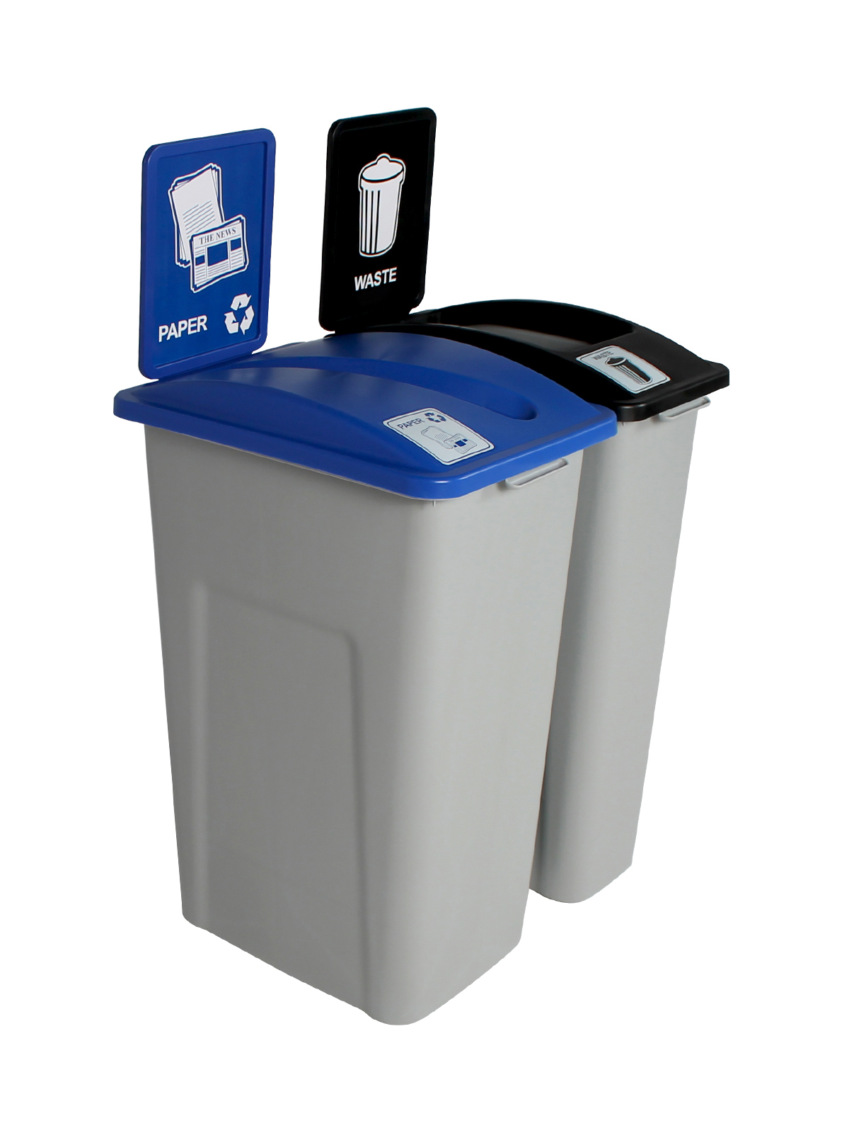 WASTE WATCHER XL - Double - Paper-Waste - Slot-Full - Grey-Blue-Black