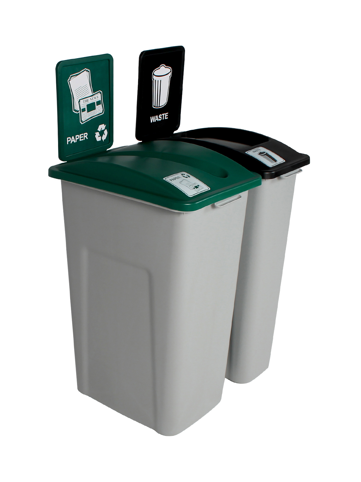 WASTE WATCHER XL - Double - Paper-Waste - Slot-Full - Grey-Green-Black