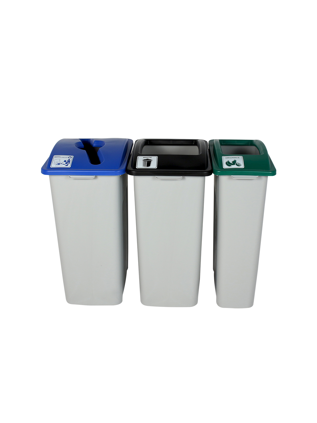 WASTE WATCHER XL - Triple - Mixed Recyclables-Organics-Waste - Mixed-Full - Grey-Blue-Green-Black