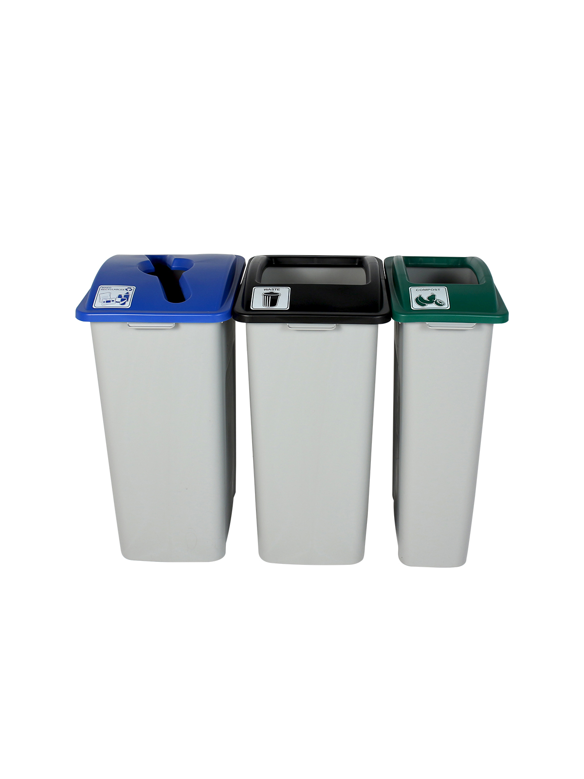 WASTE WATCHER XL - Triple - Mixed Recyclables-Compost-Waste - Mixed-Full - Grey-Blue-Green-Black