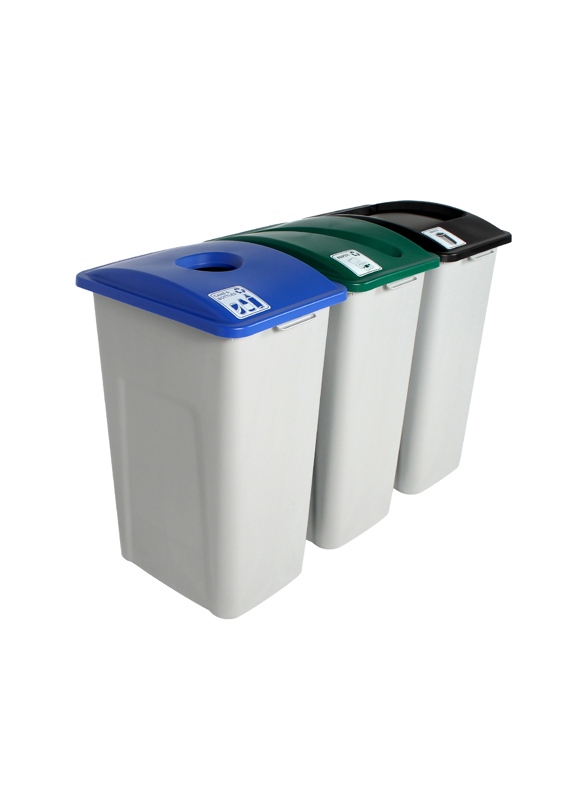 WASTE WATCHER XL - Triple - Cans & Bottles-Paper-Waste - Circle-Slot-Full - Grey-Blue-Green-Black