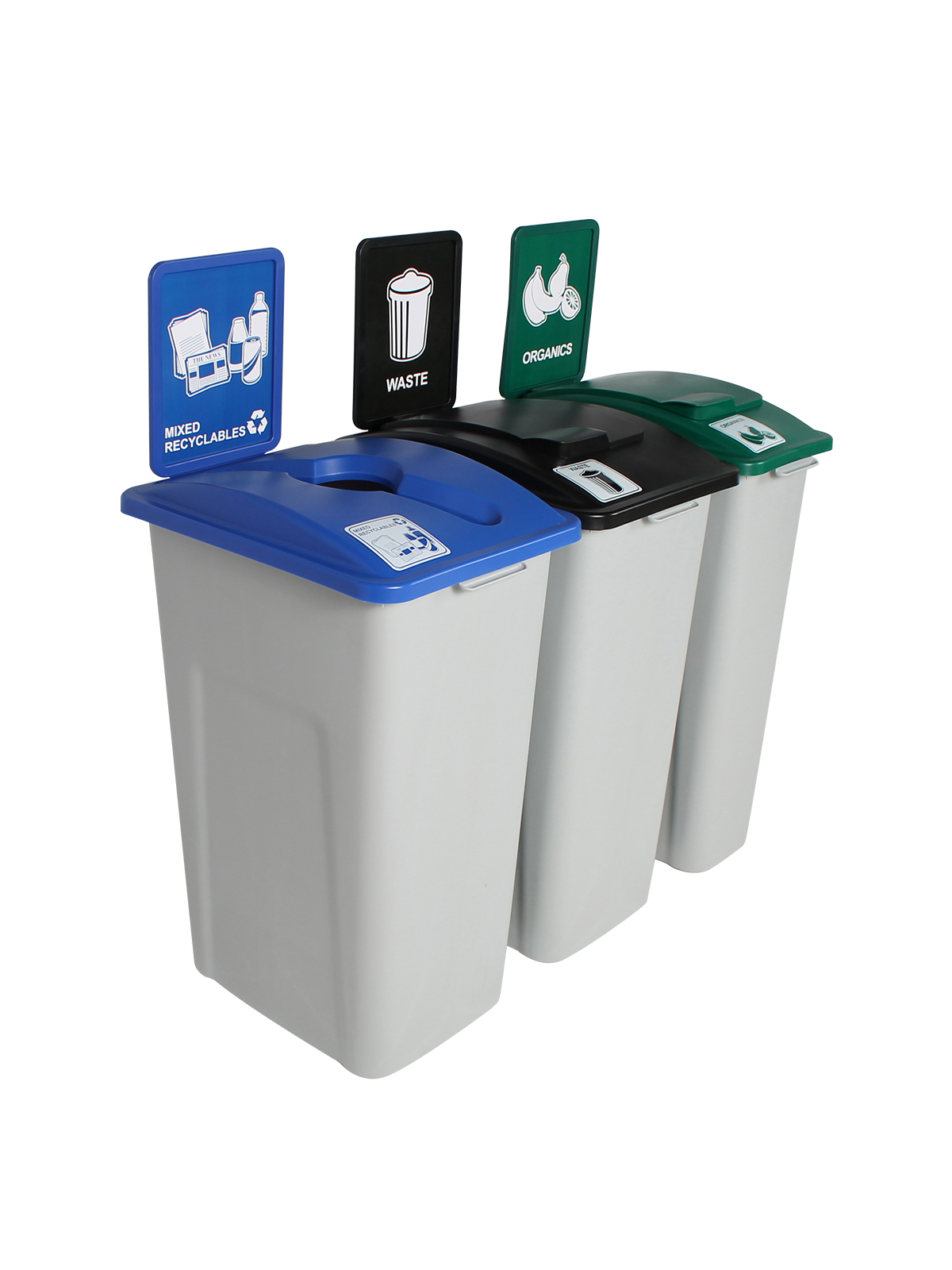 WASTE WATCHER XL - Triple - Mixed Recyclables-Organics-Waste - Mixed-Solid Lift-Solid Lift - Grey-Blue-Green-Black