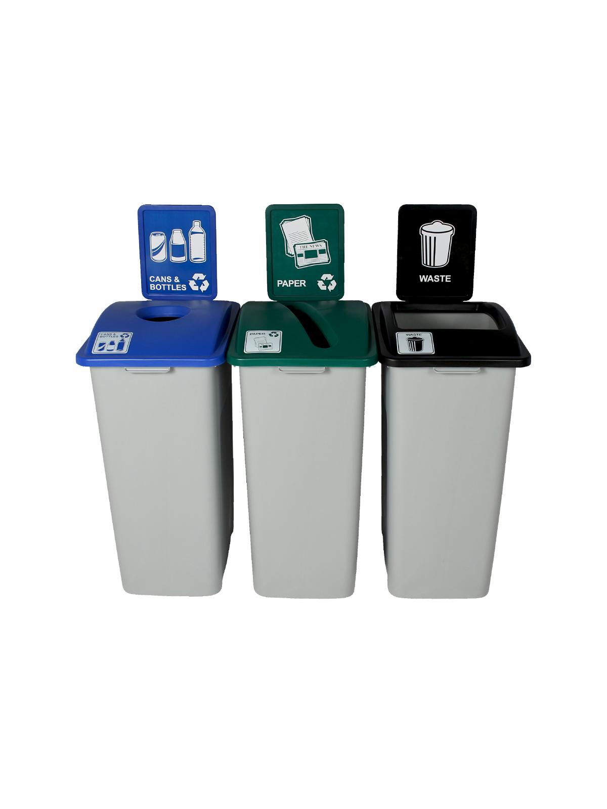 WASTE WATCHER XL - Triple - Cans & Bottles-Paper-Waste - Circle-Slot-Full - Grey-Blue-Green-Black