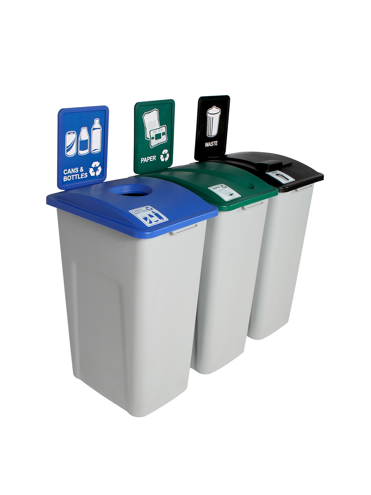 WASTE WATCHER XL - Triple - Cans & Bottles-Paper-Waste - Circle-Slot-Solid Lift - Grey-Blue-Green-Black