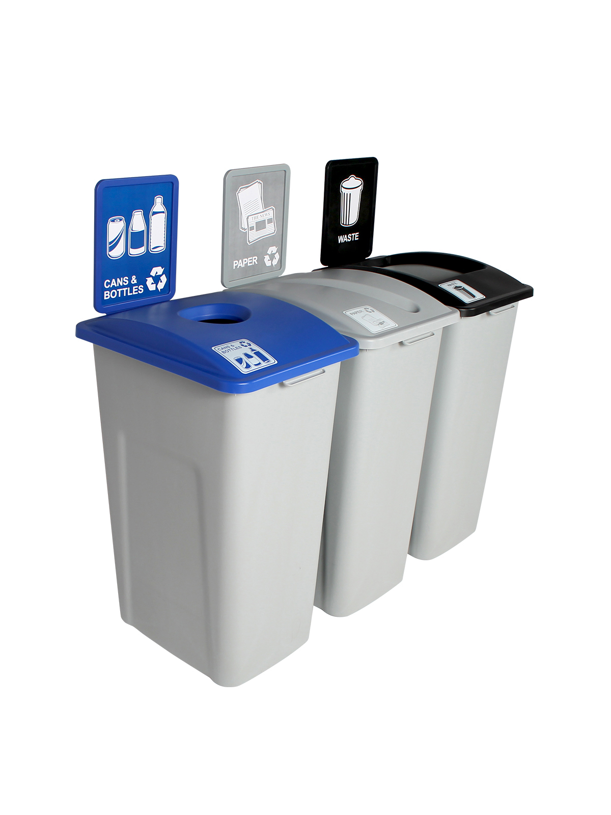 WASTE WATCHER XL - Triple - Cans & Bottles-Paper-Waste - Circle-Slot-Full - Grey-Blue-Grey-Black